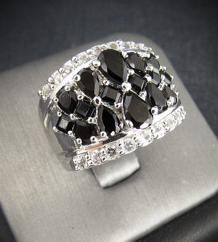 Black Onyx With White Sapphires 18KT Gold Plated Sterling Silver Ring