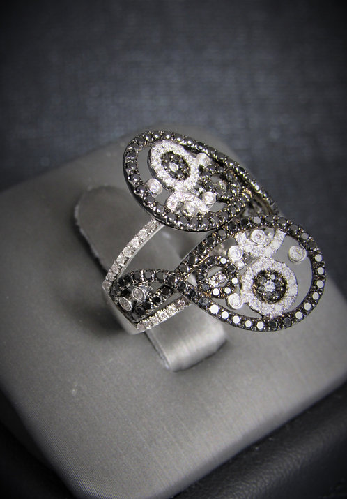 18KT White Gold Black And White Diamond By-Pass Ring