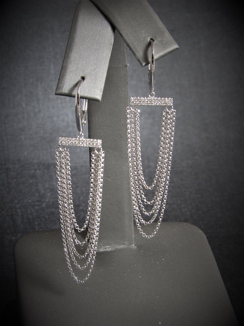 18KT White Gold Diamond Multi-Chains Earrings