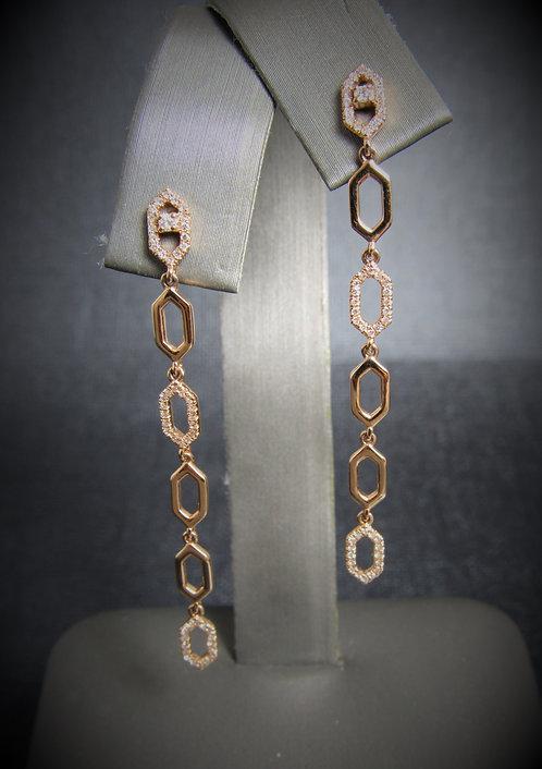 14KT Rose Gold Diamond Geometric Drop Earrings