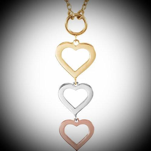 14KT Tri-Color Gold Triple Heart Necklace