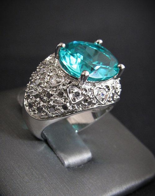Green Zircon Heart Filigree 18K Gold Plated Sterling Silver Ring