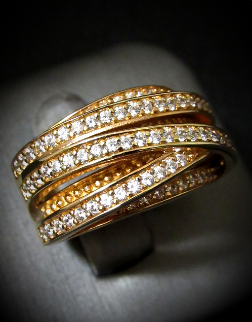White Topaz Pavé Bands 18KT Rose Gold Plated Sterling Silver Ring