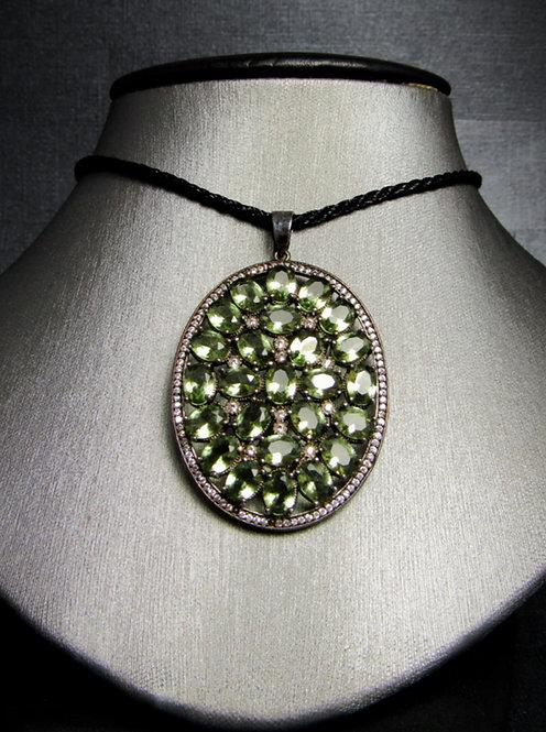 Green Tourmaline & White Topaz Black Rhodium Plated Sterling Silver Necklace