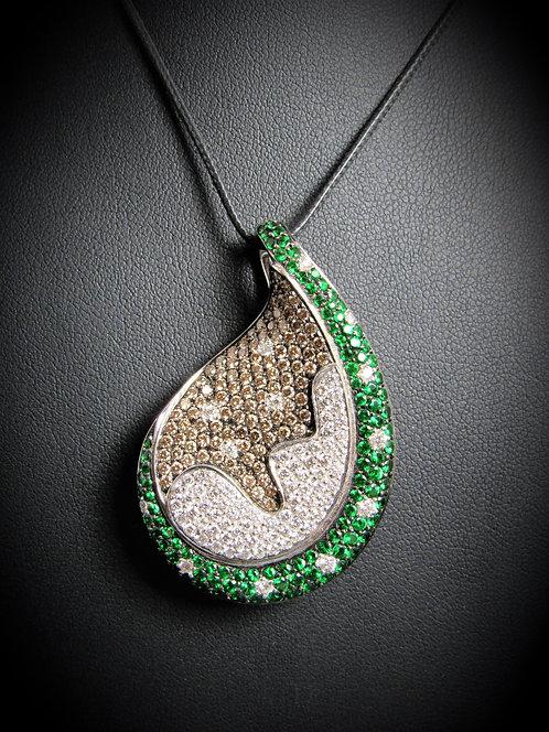 18KT White Gold Tsavorite And Diamond Fancy Pendant