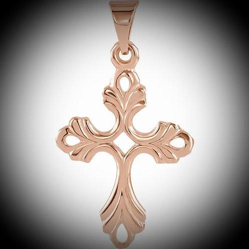 14KT Rose Gold Filigree Design Cross Pendant