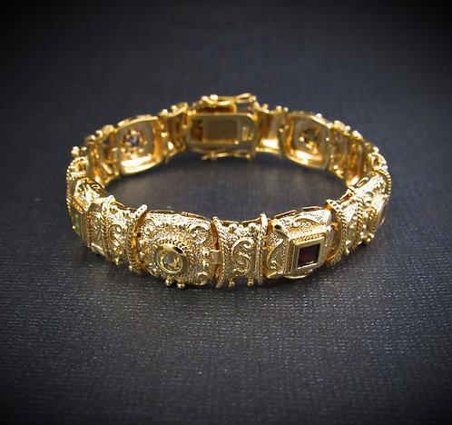 Multigem Square 18KT Yellow Gold Plated Sterling Silver Bracelet