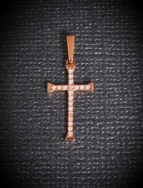 14KT Rose Gold Diamond Thin Cross Pendant