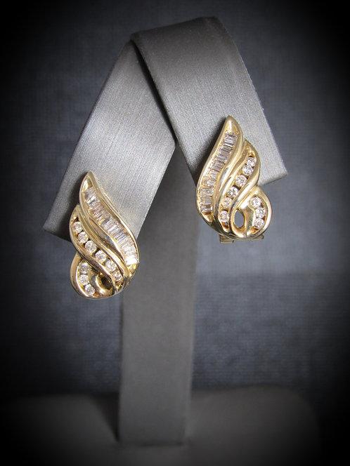 14KT Yellow Gold Diamond Channel Set Style Earrings