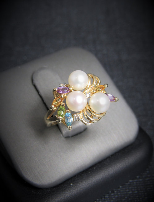 10KT Yellow Gold Diamond Multi-Gem And Pearl Ring