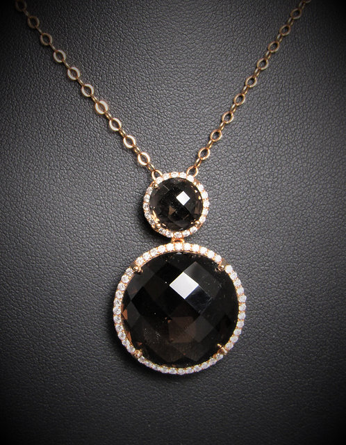 18KT Rose Gold Diamond And Smoky Topaz Pendant