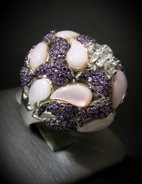 Amethyst, Mother of Pearl, & White Topaz 14KT Gold Plated Sterling Silver Ring