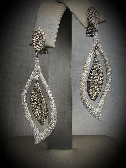 18KT White Gold Diamond Pave Style Fancy Earrings