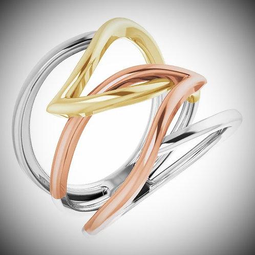 14KT Tri-Color Criss-Cross Ring