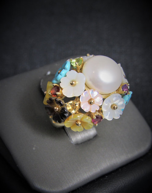 14KT Yellow Gold White Pearl And Multi-Color Gems Ring
