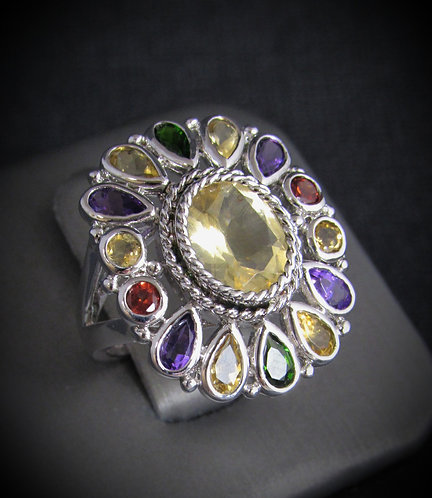 Yellow Topaz Multigem Sunflower Sterling Silver Ring