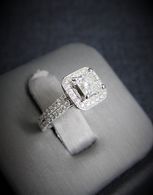 Platinum Princess Cut Diamond Halo-Style Engagement Ring