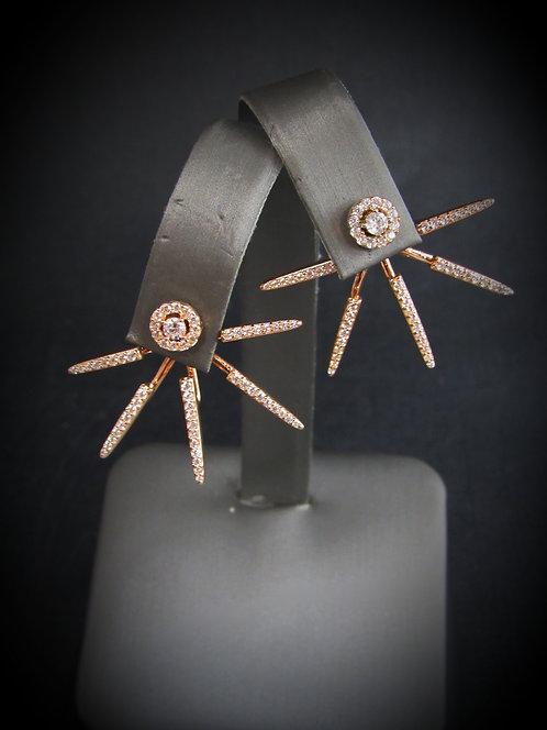 Firework White Topaz 14KT Rose Gold Plated Double Sided Sterling Silver Earrings
