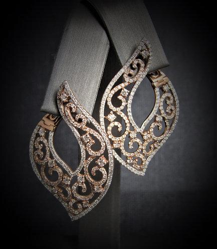 14KT Rose And White Gold Diamond Filigree Style Earrings