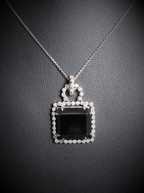 14KT White Gold Diamond And Black Onyx Pendant