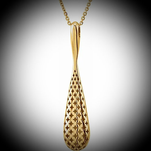 14KT Yellow Gold Pierced Teardrop Necklace