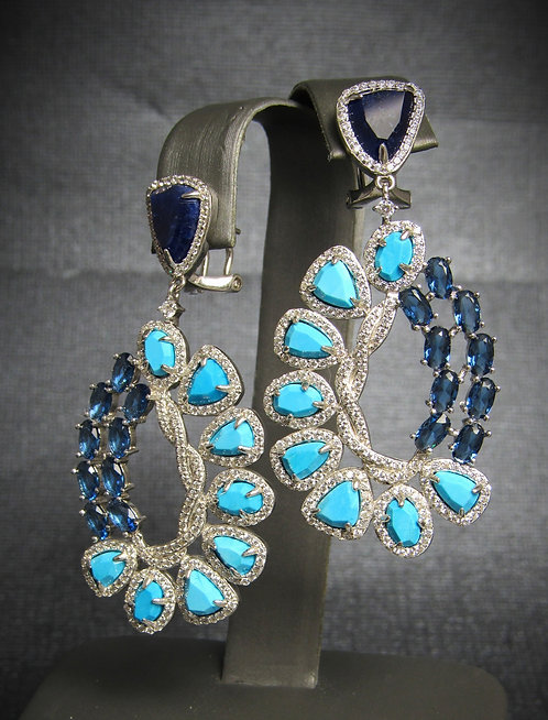 Turquoise, Sapphires, Lapis, & White Topaz Sterling Silver & 14 KT Gold Plated E