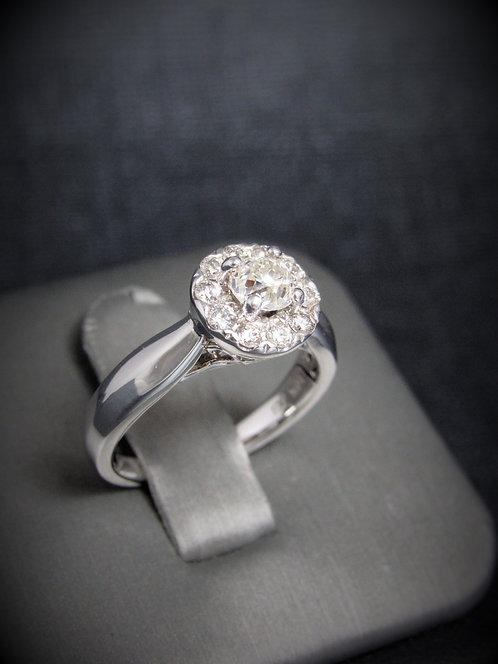 14KT White Gold Round Brilliant Cut Diamond Engagement Ring