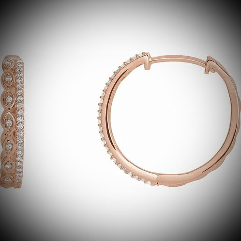 14KT Rose 1/4 CTW Diamond Geometric Hoop Earrings