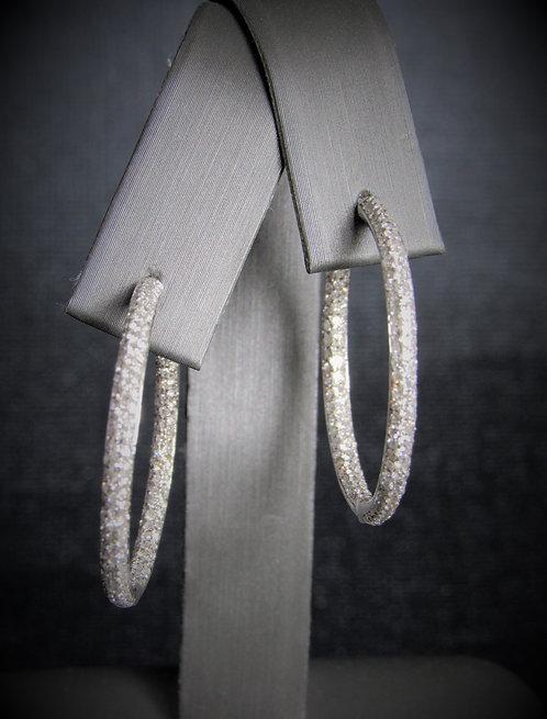14KT White Gold Diamond Inside-Outside Pave Style Hoop Earrings