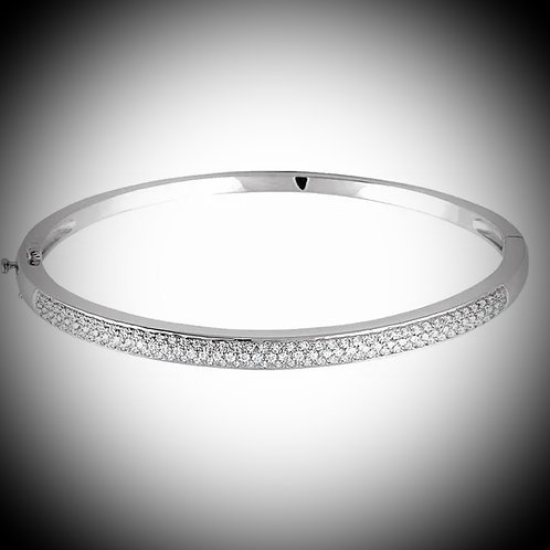 14KT White Gold Diamond Pave Bangle Bracelet
