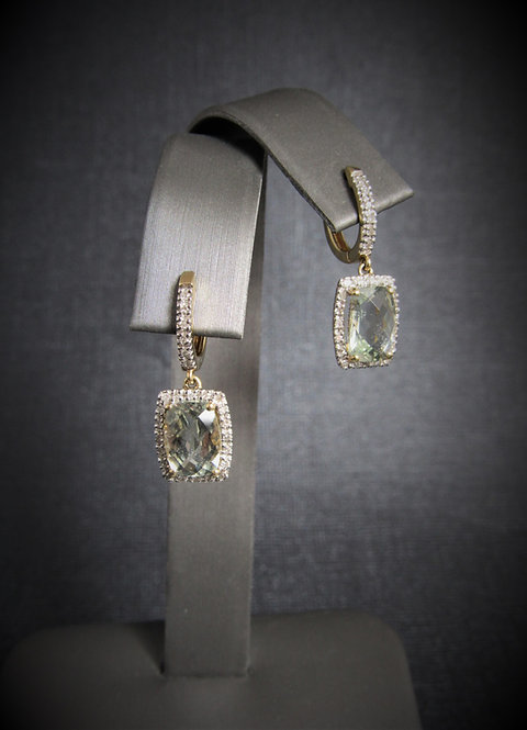 14KT Yellow Gold Diamond And Green Amethyst Dangling Earrings