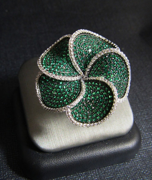 Spiral Flower Emerald & White Topaz 14KT Gold Plated Sterling Silver Ring