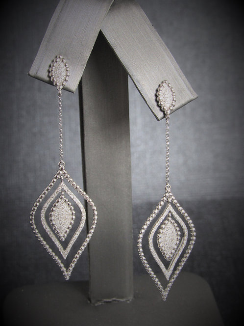 14KT White Gold Diamond Dangling Chain Earrings
