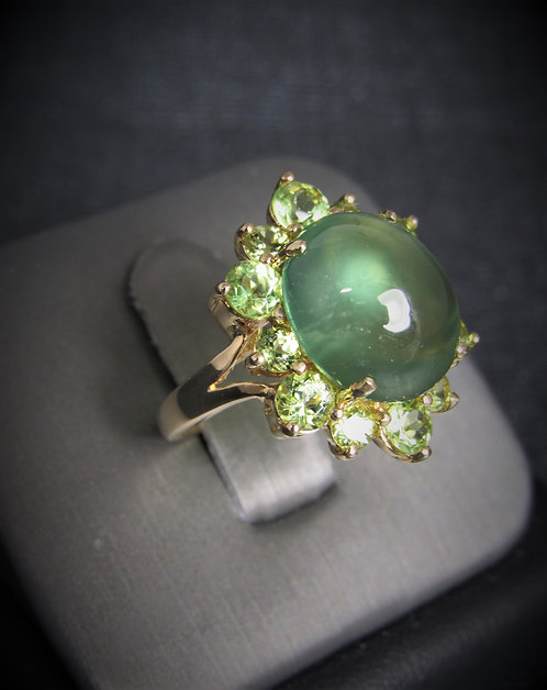 14KT Yellow Gold Green Amethyst And Peridot Ring
