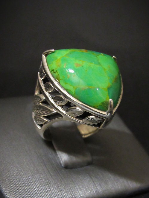 Natural Green Turquoise Sterling Silver Ring