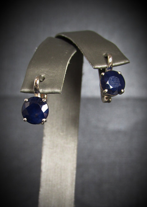 Round Sapphire 14KT Gold Plated Sterling Silver Earrings
