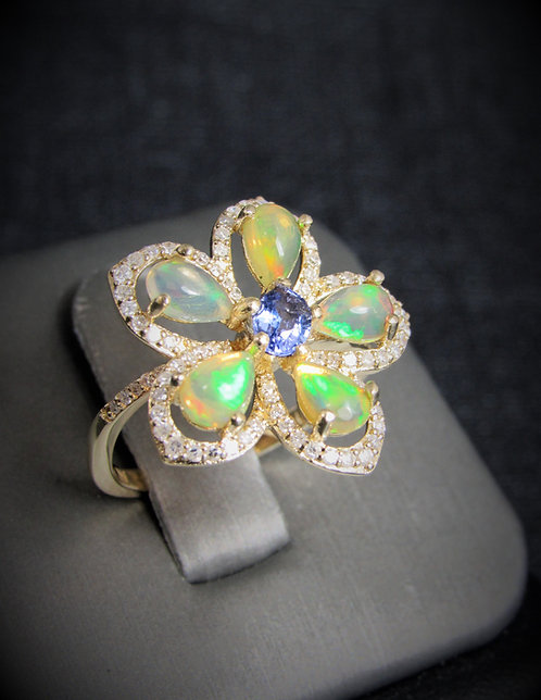 14KT Yellow Gold Diamond Opalite And Tanzanite Flower Ring