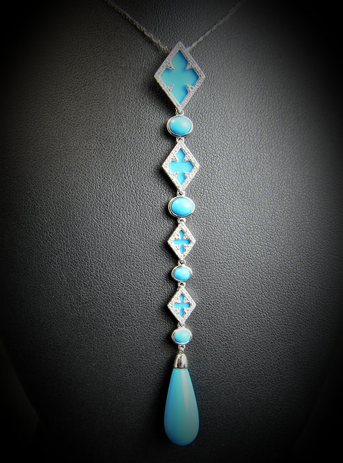 14KT White Gold Diamond And Turquoise Long Pendant