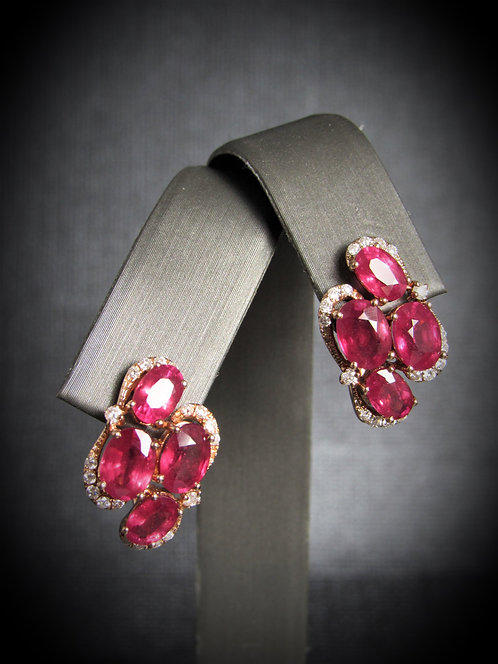 14KT Rose Gold Diamond And Ruby Earrings