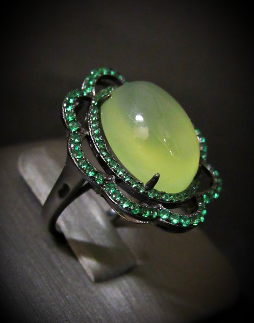 Oval Shape Green Agate & Tsavorite Rhodium Plated Sterling Silver Ring