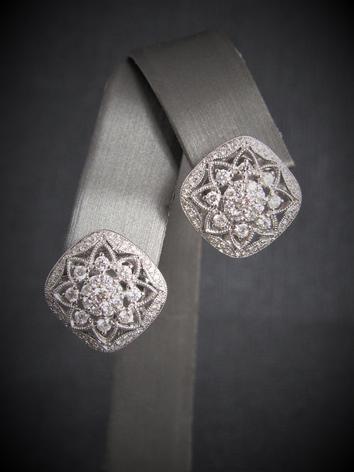 14KT White Gold Diamond Filigree Earrings