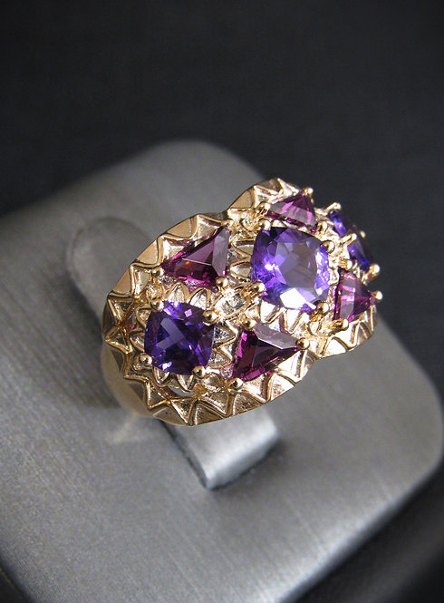 Amethyst Filigree 14KT Rose Gold Plated Sterling Silver Ring