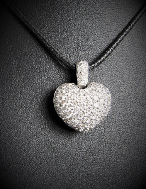 18KT White Gold Diamond Pave-Style Bubble Heart Pendant