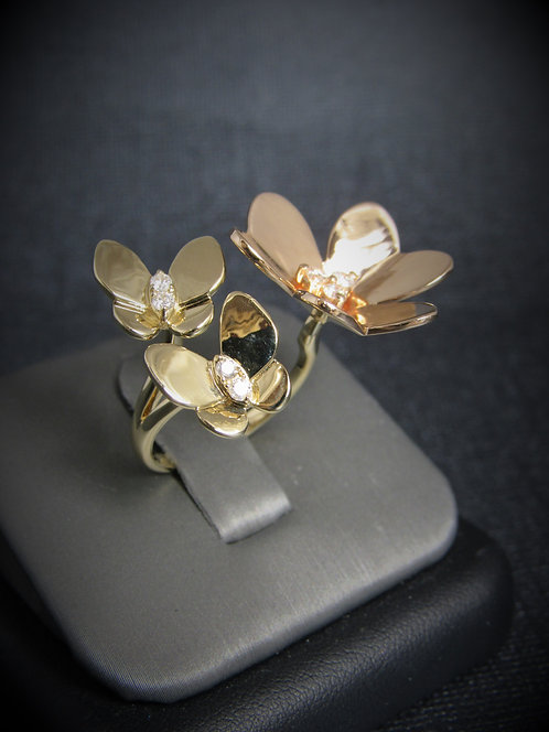 14KT Rose And Yellow Gold Diamond Flower Butterfly By-Pass Style Ring