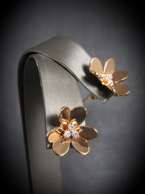 14KT Rose Gold Diamond 3D Style Flower Earrings