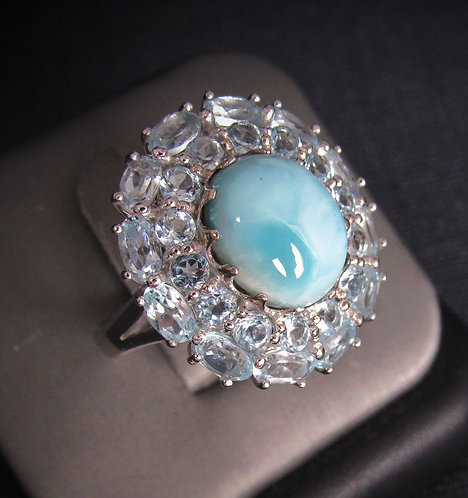 Oval Larimar With Aquamarine Sterling Silver Ring
