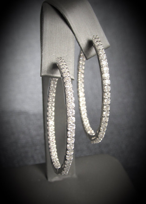 14KT White Gold Diamond In & Out Large Round Hoops