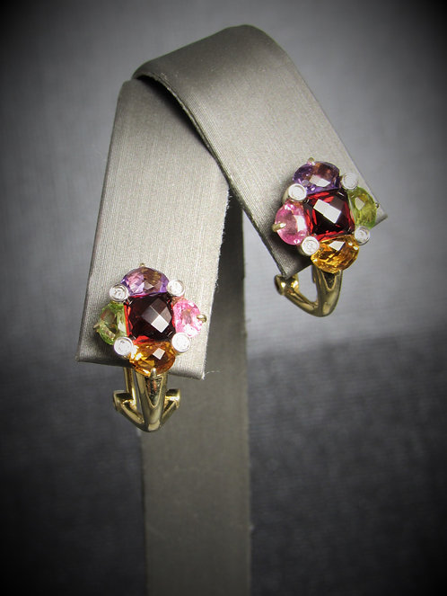 14KT Yellow Gold Multi-Gem And Diamond Earrings
