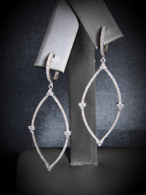 14KT White Gold Diamond Dangling Earrings