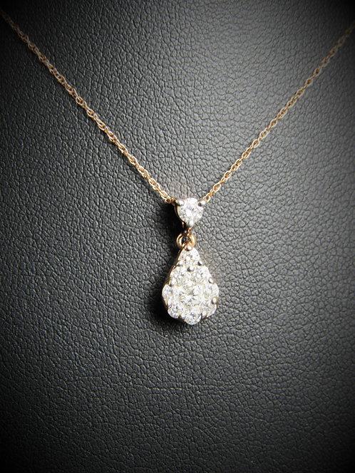 14KT Rose Gold Diamond Tear Shape Cluster Pendant